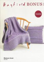 Hayfield Bonus Aran - 10123 Blanket & Cushion Crochet Pattern